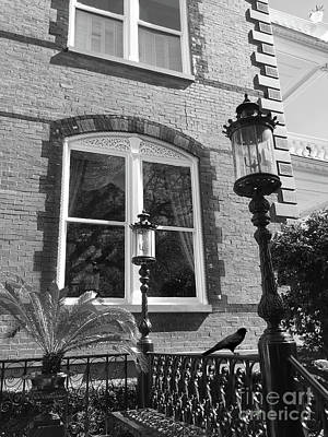 Haunted Houses Photograph - Charleston French Quarter Architecture - Window Street Lanterns Gothic French Black White Art Deco  by Kathy Fornal