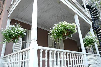 Hanging Baskets Photograph - Charleston Historical District Front Porch Flowers - Charleston Homes Architecture by Kathy Fornal