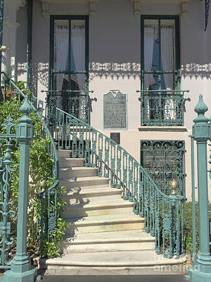 Photograph - Charleston Historical John Rutledge House - Aqua Teal Gate Staircase Architecture - Charleston Homes by Kathy Fornal