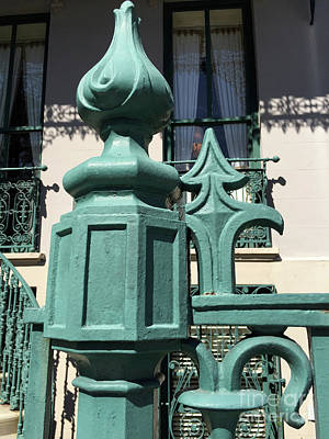 Fleur De Lis Photograph - Charleston John Rutledge House Fleur De Lis Symbols - French Quarter Architecture Gate Posts by Kathy Fornal