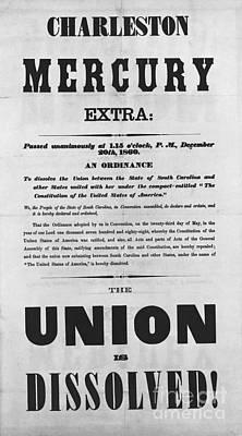 Charleston Mercury Union Dissolved Art Print