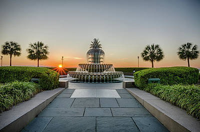 Photograph - Charleston Pineapple Fountain At Sunrise by Anthony Doudt