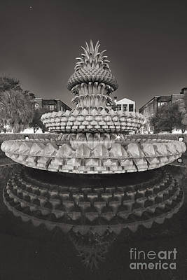 Charleston Pineapple Fountain Fine Art Black And White Art Print by Dustin K Ryan