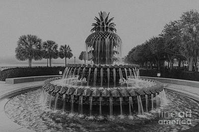 Photograph - Charleston Pineapple Fountain In Black And White by Dale Powell