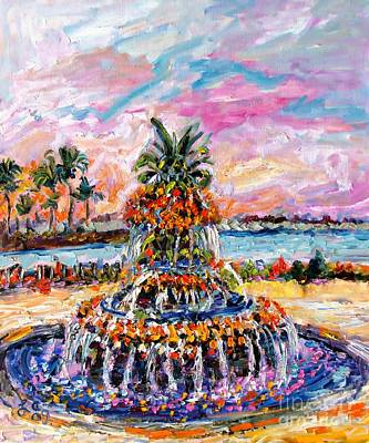 Painting - Charleston Pineapple Fountain Sc by Ginette Callaway