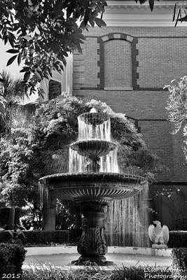 Photograph - Charleston Sc Calhoun Mansion Fountain Black And White by Lisa Wooten