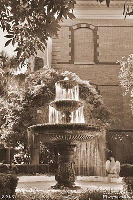 Photograph - Charleston Sc Calhoun Mansion Fountain Sepia by Lisa Wooten