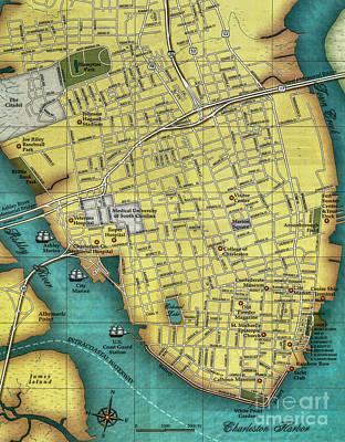 Photograph - Charleston Sc Peninsula Map by Dale Powell