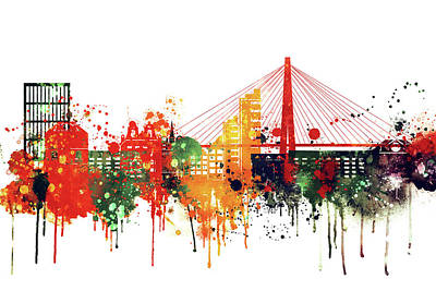 Skyline Digital Art - Charleston Skyline, Watercolor by Dim Dom