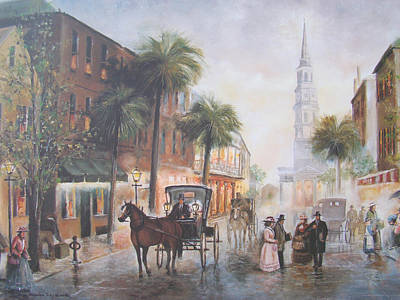 City Scape Painting - Charleston Somewhere In Time by Charles Roy Smith