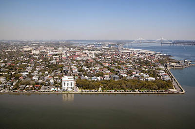 Charleston South Carolina Battery Waterfront Aerial Original