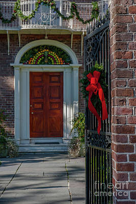 Photograph - Charleston South Carolina Christmas Door by Dale Powell