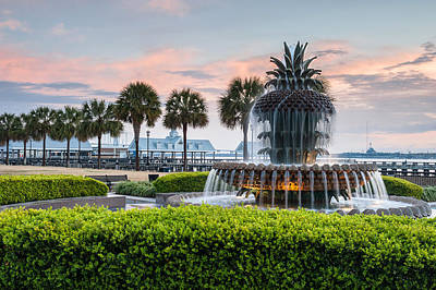 Palmetto Tree Photograph - Charleston South Carolina Downtown Waterfront Park Pineapple Fountain by Mark VanDyke
