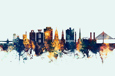 Charleston Wall Art - Digital Art - Charleston South Carolina Skyline by Michael Tompsett