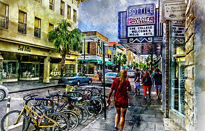 Digital Art - Charleston Street Scene - Watercolor by David Smith