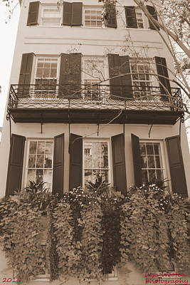Photograph - Charleston Style Home Sepia by Lisa Wooten