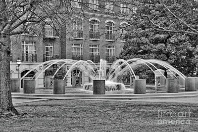 Photograph - Charleston Waterfront Park Fountain Black And White by Carol Groenen