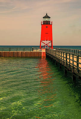 Photograph - Charlevoix Lighthouse Reflection by Dan Sproul
