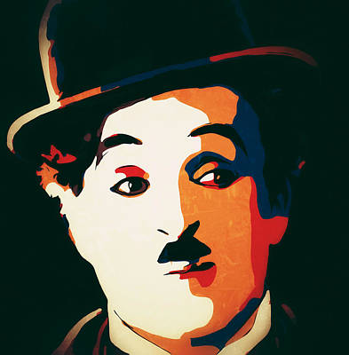 Digital Art - Charlie Chaplin Portrait On Black 1 by Yury Malkov