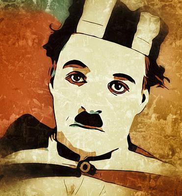 Digital Art - Charlie Chaplin Portrait Prisoner by Yury Malkov