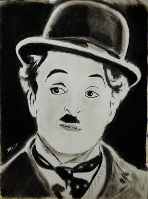 Charlot Painting - Charlie Chaplin  by David Briot