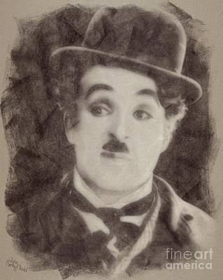 Musicians Drawings Rights Managed Images - Charlie Chaplin Hollywood Legend Royalty-Free Image by John Springfield