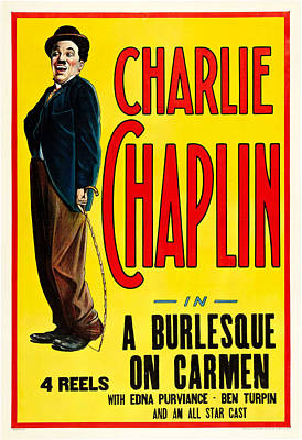 Old Hollywood Mixed Media - Charlie Chaplin In A Burlesque On Carmen 1915 by Mountain Dreams