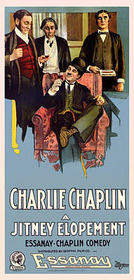 1910s Mixed Media - Charlie Chaplin In A Jitney Elopement 1915 by Mountain Dreams