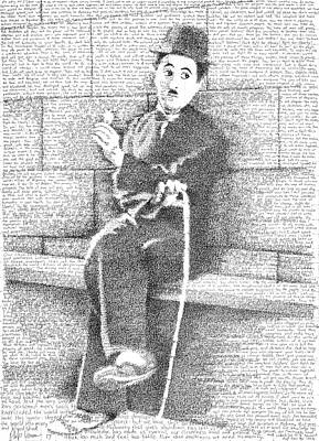 Phils Drawing - Charlie Chaplin In His Own Words by Phil Vance