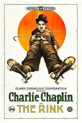 Charlie Chaplin In The Rink 1922 Art Print