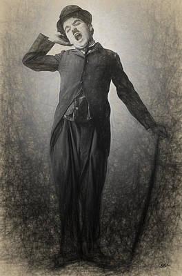 Chaplin Digital Art - Chaplin Drawn by Joaquin Abella