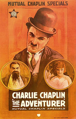 1910s Mixed Media - Charlie Chaplin - The Adventurer 1917 by Mountain Dreams