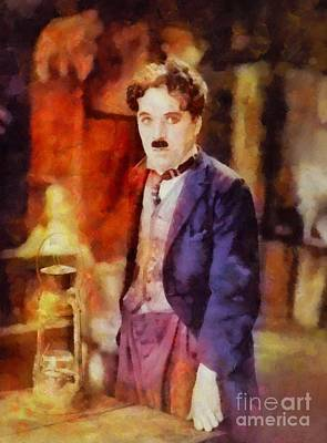 Television Painting - Charlie Chaplin, Vintage Hollywood Legend by Sarah Kirk