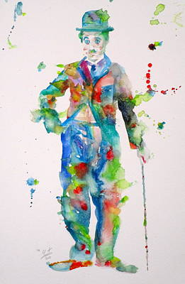 Painting - Charlie Chaplin - Watercolor Portrait.10 by Fabrizio Cassetta