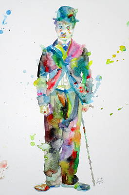 Painting - Charlie Chaplin - Watercolor Portrait.11 by Fabrizio Cassetta