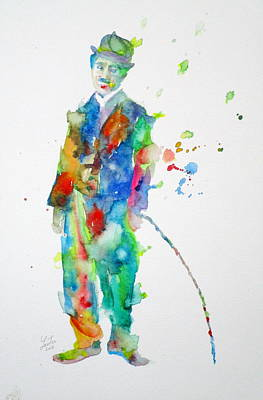 Painting - Charlie Chaplin - Watercolor Portrait.9 by Fabrizio Cassetta