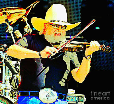 Charlie Daniels Painting - Charlie Daniels by Pd