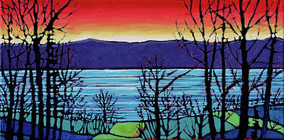 Wall Art - Painting - Charlie Lake Sunset 2 by Alison Newth