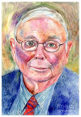 Harvard Wall Art - Painting - Charlie Munger Painting by Suzann's Art
