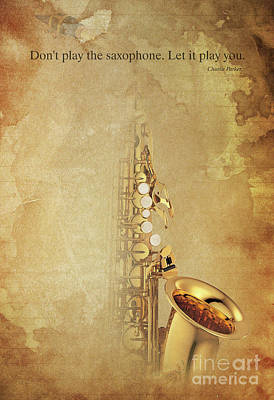 Charlie Parker Saxophone Brown Vintage Poster And Quote, Gift For Musicians Print by Pablo Franchi