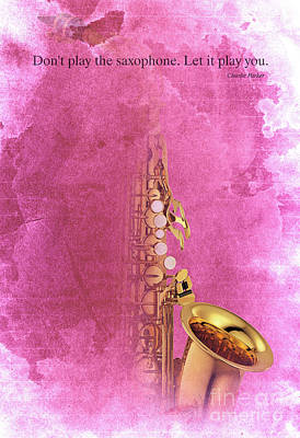 Taylor Swift Painting - Charlie Parker Saxophone Light Red Vintage Poster And Quote, Gift For Musicians by Pablo Franchi