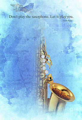 Charlie Parker Saxophone Vintage Poster And Quote, Gift For Musicians Print by Pablo Franchi