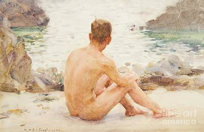 Charlie Seated On The Sand Art Print by Henry Scott Tuke
