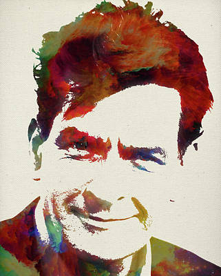 Charlie Sheen Watercolor Portrait Art Print
