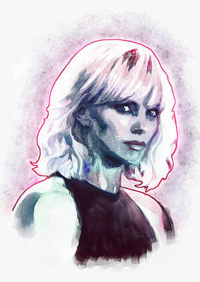Charlize Wall Art - Painting - Charlize As Atomic Blonde by Igor Amazonenco