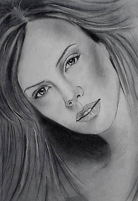Charlize Wall Art - Drawing - Charlize Thernon by Angela Moore
