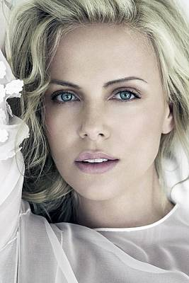 Charlize Wall Art - Digital Art - Charlize Theron Blue Eyed Blonde Blouse Celebrity Hollywood 31116 640x960 by Rose Lynn