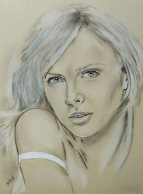 Actrice Drawing - Charlize Theron by David Briot