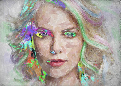 Charlize Wall Art - Photograph - Charlize Theron Watercolor by Ricky Barnard