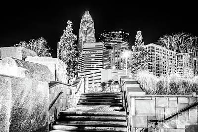 Charlotte Skyline Photograph - Charlotte At Night Black And White Photo by Paul Velgos